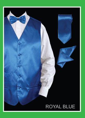 Mens Royal Blue Tuxedo Vest Tie Set Satin VS801