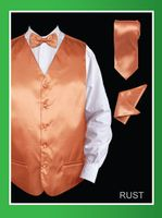 Mens Rust Tuxedo Vest and Bow Tie Silky Satin VS801