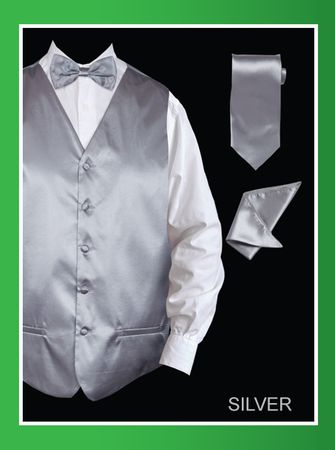 Mens Silver Tuxedo Vest Tie Set Satin VS801