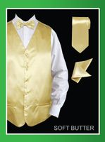 Mens Tuxedo Vest and Bow Tie Butter Yellow Satin VS801