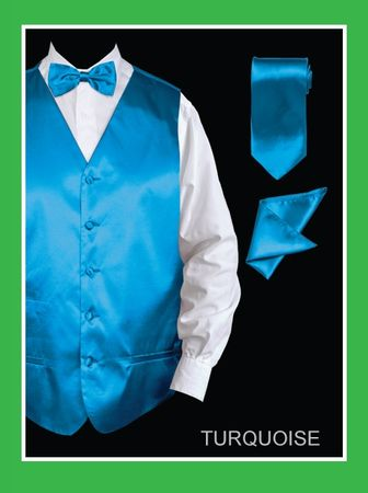 Mens Turquoise Tuxedo Vest and Bow Tie Silky Satin VS801