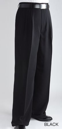 Fratello Mens Black Wide Legged Pants Baggy Leg Slacks DP-106