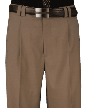 Veronesi Men's Khaki Wool Wide Leg Dress Slacks 666111 - click to enlarge