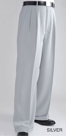 Fratello Slacks Mens Silver Wide Leg Dress Pants DP-106 - click to enlarge