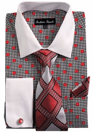 Mens Dress Shirts with Tie Sets Red Dot Pattern Fortini FL632 Size 19.5 36/37 Final Sale