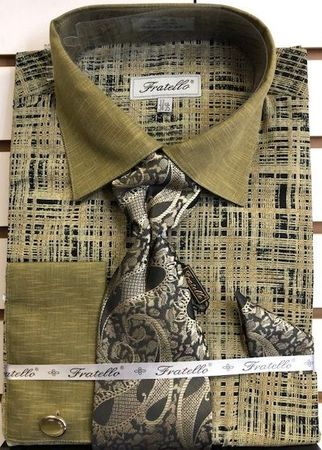 Fratello Mustard Etch Plaid French Cuff Shirt Tie Set FRV4129P2 - click to enlarge