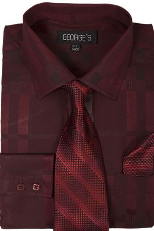 Mens Dress Shirt with Matching Tie and Hanky Burgundy George AH623