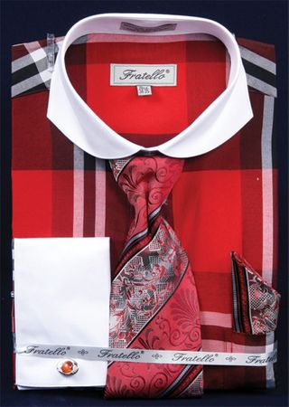 Fratello Wide Spread Collar Red Plaid Shirt and Tie Set FRV4125P2 - click to enlarge
