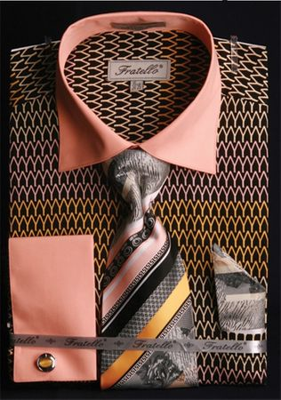 Fratello Wishbone Pattern French Cuff Shirt Tie Set FRV4127P2 - click to enlarge