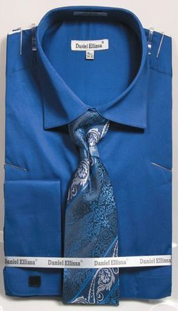 French Blue Spread Collar Shirt With Ties French Cuffs (100% Cotton) DE DS3798P2