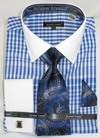 French Cuff Shirt Tie Set Mens Blue Gingham Pattern Fratello DN81M