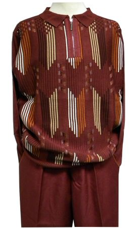 Stacy Adams Mens Red Polo Sweater and Pants Outfit 8338