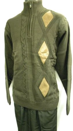 Gachu Mens Brown Suede Trim Zip Mock Neck Sweater 1103 - click to enlarge