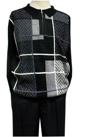 Stacy Adams Mens Black Sweater and Pants Outfit 8225 - click to enlarge