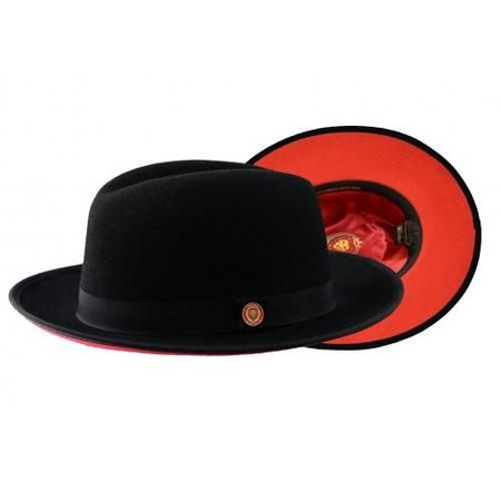 Men's Black Red Bottom Hat Wide Brim Wool Bruno PR-300