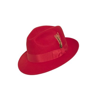 74ff31e4d06 Gangster Hat Men s Red Wool Fedora Untouchable Capas