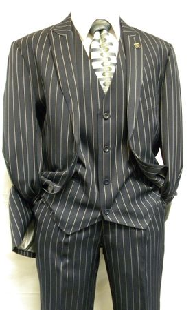 Gangster Suit Mens Blue White Stripe Stacy Adams Mars 4017-002 - click to enlarge
