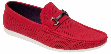 Montique Men's Red Metal Bit Perforated Casual Loafers S45
