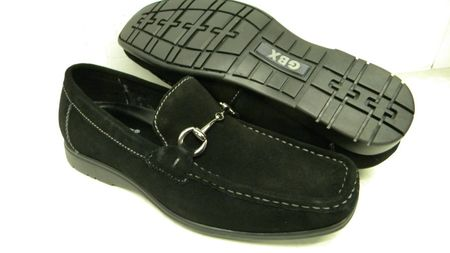 GBX Mens Black Suede Metal Bit Loafers 133441 IS - click to enlarge