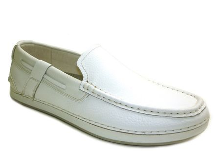 GBX Mens White Leather Moccasins Slip-Ons 133276-1 IS