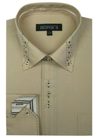 George Beige 3 Button Collar Mens Fashion Dress Shirts AH608 - click to enlarge