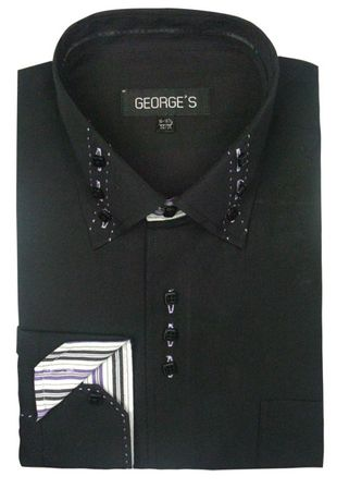 George Black 3 Button Collar Mens Fashion Dress Shirts AH608 - click to enlarge