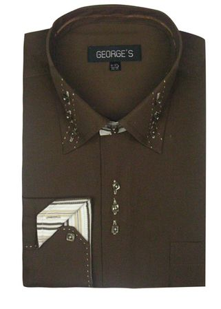 George Brown 3 Button Collar Mens Fashion Dress Shirts AH608 - click to enlarge