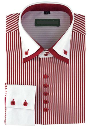 High Collar Clubbing Shirts Mens Burgundy Stripe AH606 - click to enlarge