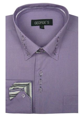 George Lilac 3 Button Collar Mens Fashion Dress Shirts AH608 - click to enlarge
