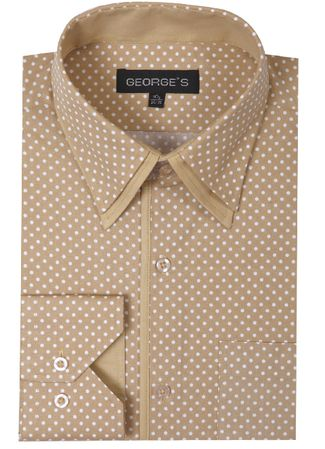 Mens Club Shirt Beige Small Dot Pattern AH617 - click to enlarge