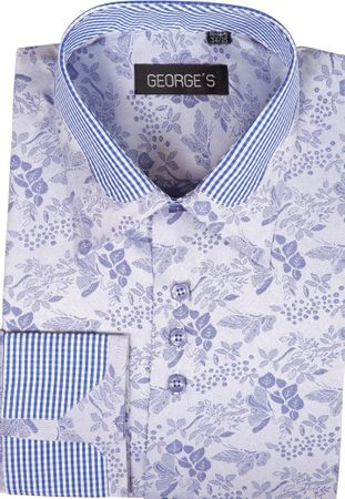 High Collar Club Style Shirts Lavender Pattern George AH622 - click to enlarge