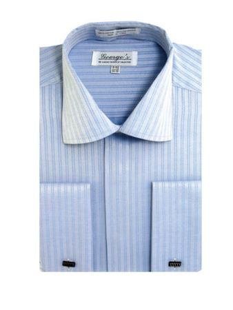 French Cuff Dress Shirt Mens Blue Tonal Stripe SG30