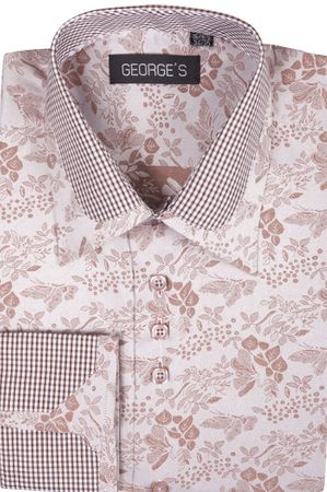 High Collar Club Style Shirts Brown Pattern George AH622 - click to enlarge