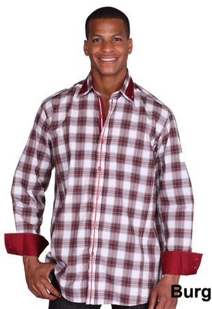 High Collar Shirt Mens Burgundy Fashion Plaid George AH607 - click to enlarge