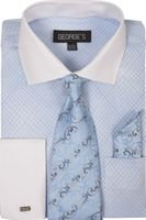 George Mens Dress Shirt Matching Tie and Hanky Sky Plaid AH624