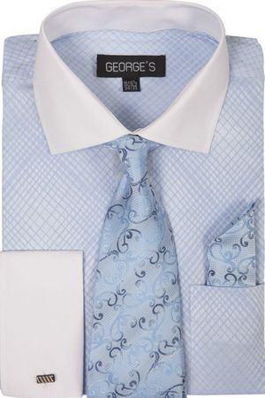 George Mens Dress Shirt Matching Tie and Hanky Sky Plaid AH624 - click to enlarge