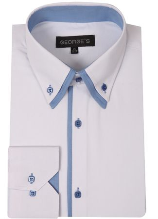 George Mens Fashion Shirts White Light Blue Trim AH618 - click to enlarge