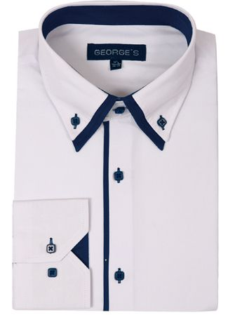 George Mens Fashion Shirts White Navy Trim AH618 - click to enlarge