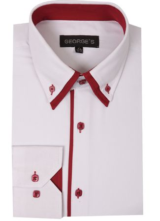 George Mens Fashion Shirts White Red Trim AH618 - click to enlarge