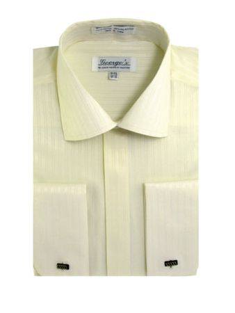 French Cuff Dress Shirt Mens Ivory Tonal Stripe SG30
