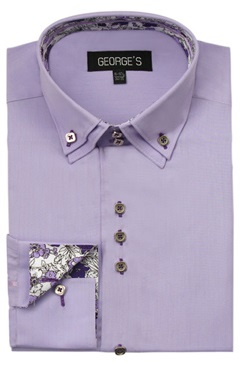 3 Button High Collar Shirts Lavender George AH610