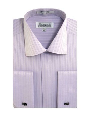 French Cuff Dress Shirt Mens Lilac Tonal Stripe SG30