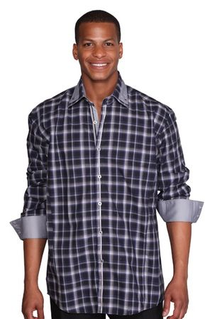 High Collar Shirt Mens Navy Blue Fashion Plaid George AH607 - click to enlarge