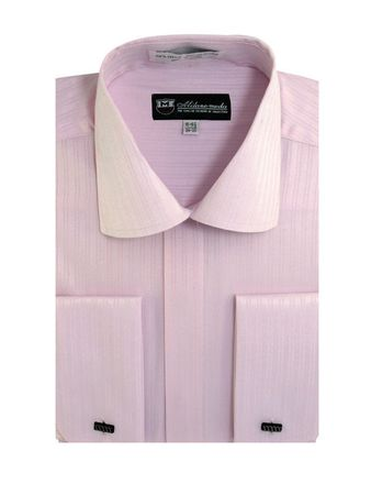 French Cuff Dress Shirt Mens Pink Tonal Stripe SG30