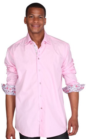 Mens 3 Button High Collar Shirts Pink George AH610
