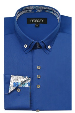 3 Button High Collar Shirts Royal Blue George AH610