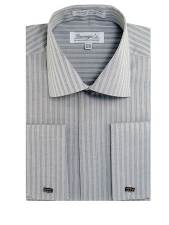 French Cuff Dress Shirt Mens Silver Tonal Stripe SG30