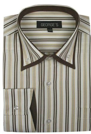 Mens High Collar Club Shirts Tan Stripe  AH609 - click to enlarge