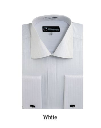 George Mens White Tonal Stripe French Cuff Dress Shirt SG30