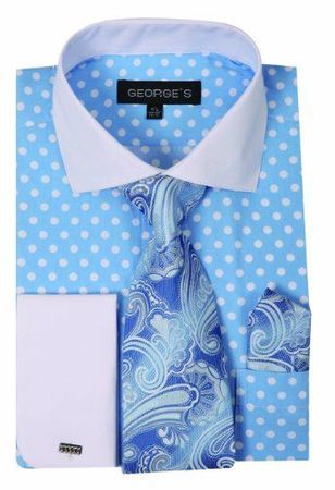 George Cotton Light Blue Polka Dot French Cuff Dress Shirt AH613